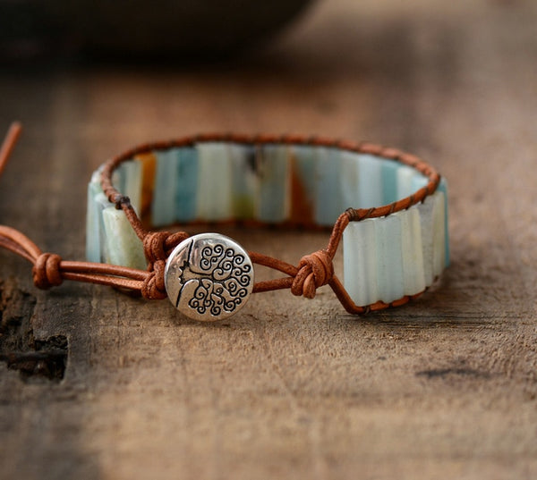 Amazonite Stone & Leather Tree Of Life Bracelet