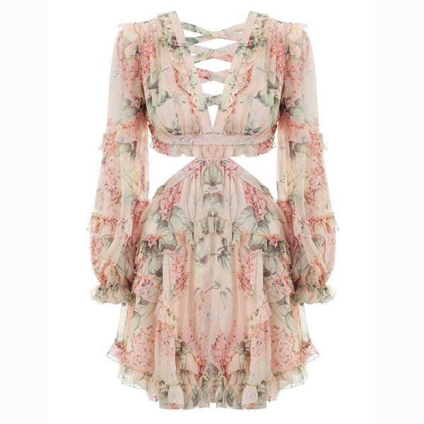 Isla V-neck Sexy Long Sleeve Floral Print Mini Dress