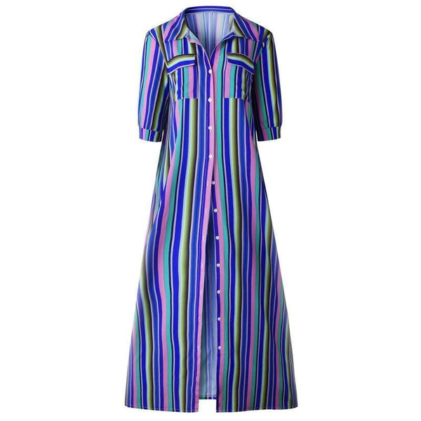 Tamara Boho Retro Striped  Button Down Maxi Dress