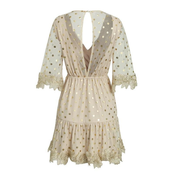 Dot Sequin Flare Sleeve Dress
