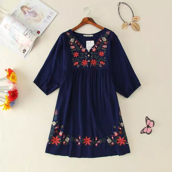 Ethnic Plus Size Flowers Embroidery Mini Dress