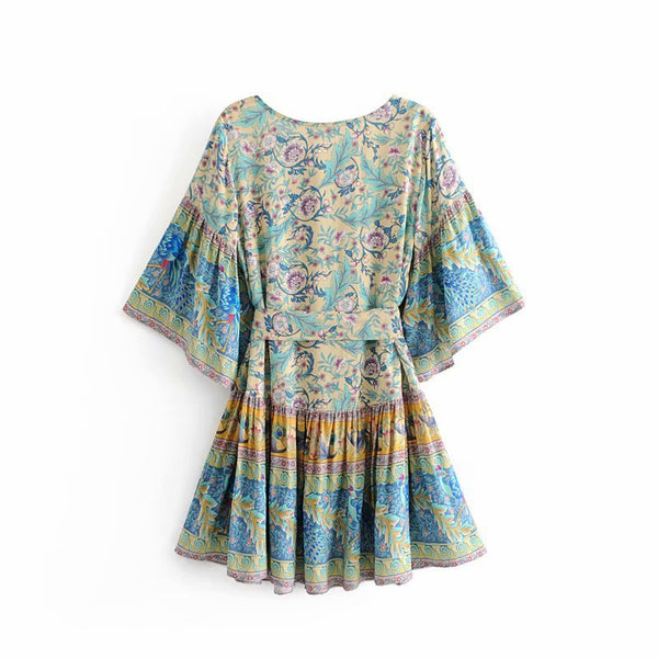 Lina Boho Rayon Floral Print Mini Dress