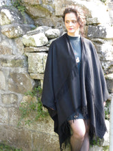 Load image into Gallery viewer, Bespoke rich cashmere full cape shawl with many bias fringes, perfect for spring and fall days