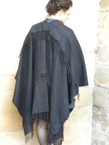 Bias Fringe rows , Black cape for a classy and elegant appeal.
