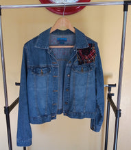 Load image into Gallery viewer, Denim up-cycled Jacket inspired from Boro Japanese tradition and Scottish tartan