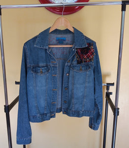 Denim up-cycled Jacket inspired from Boro Japanese tradition and Scottish tartan