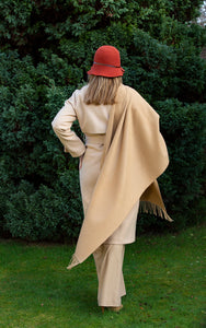 Classic Camel Cashmere Shawl , soft , thick and  would give you the luxurious  look you always wanted