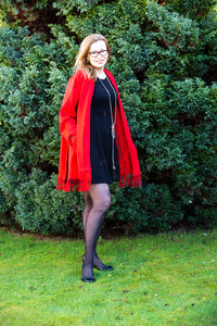 Relaxed-fit red cashmere light weight coat