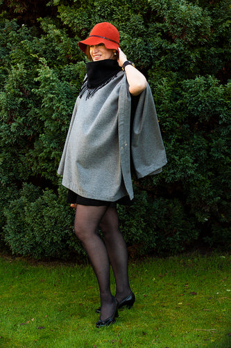 This bespoke Poncho made based on a very sweet lady advise I met in a marketing course asking for high neck collar poncho for cold days