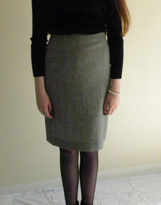 High Waist Pencil Skirt- 100% Wool