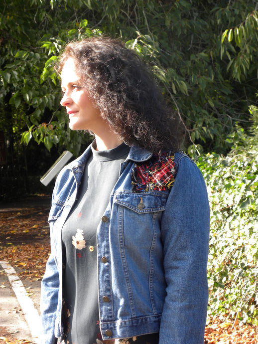 Upcycled Jeans Jacket with Tartan patches