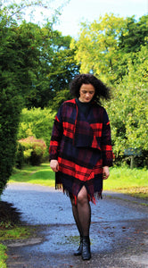 Waterfall, easy fitting cashmere Tartan coat - Bespoke - Hand made