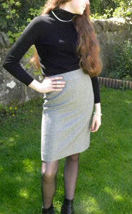 High Waist Pencil Skirt- 100% Wool-Elegant, classic high waist black and white check skirt- pencil style. Pair it with silk top to have a glamorous look.
