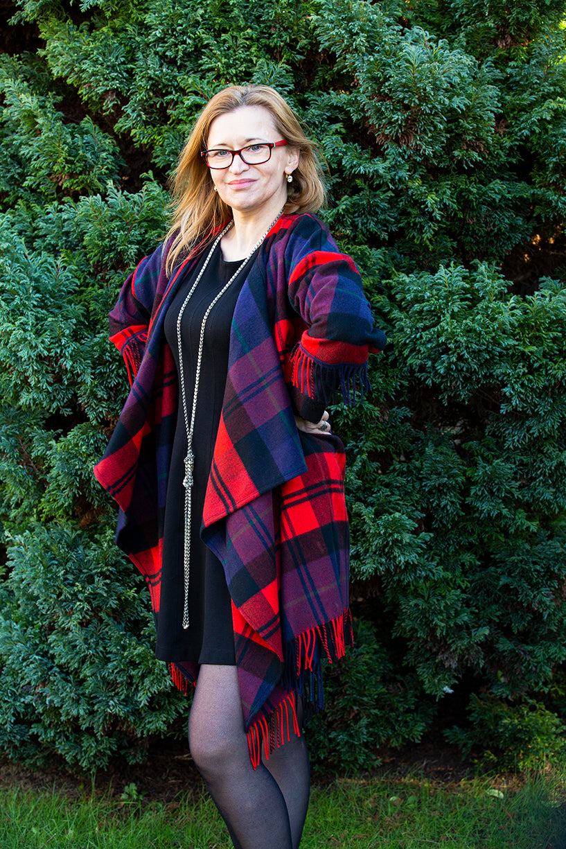 Eye-catching tartan coat, 100 % cashmere, Waterfall collar with happy fringes hem.  Only one piece Eco Friendly and Ethically made.