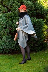 Wool Poncho With Black High Neck Collar