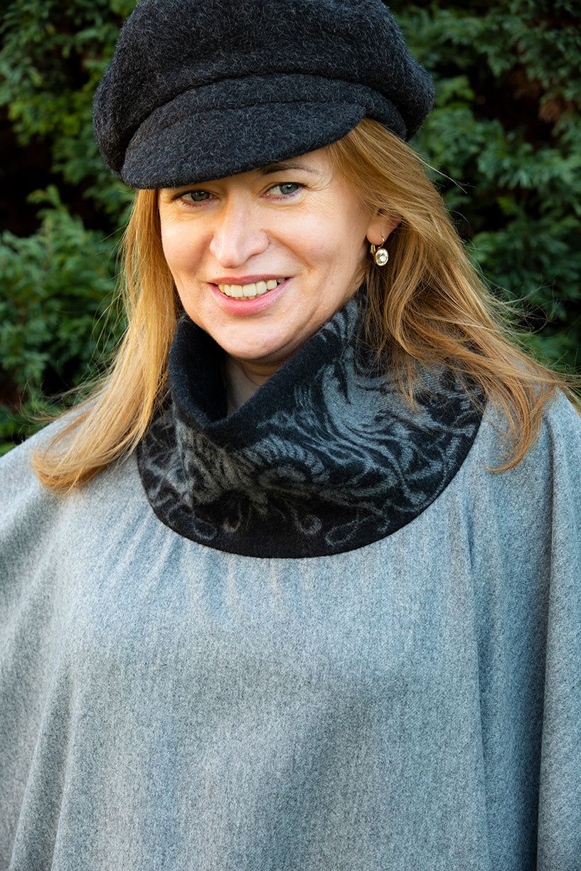 High Neck Wool Poncho with sophisticated touch of cashmere