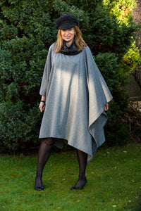 Asymmetric Wool Poncho with a Luxury Touch of Cashmere