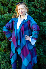Load image into Gallery viewer, Waterfall Collared Wool Tartan Coat