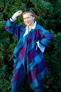 Waterfall Collared Wool Tartan Coat