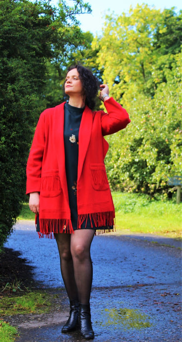 Red Cashmere Coat , Fringed hem and Pockets