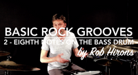 Basic Rock Grooves Lesson 2 - Eighth Notes on the Bass Drum (Beginner)