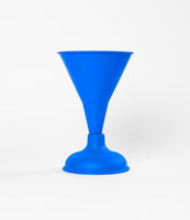 Blue Spray Painted Toilet Plunger Funnel Vase