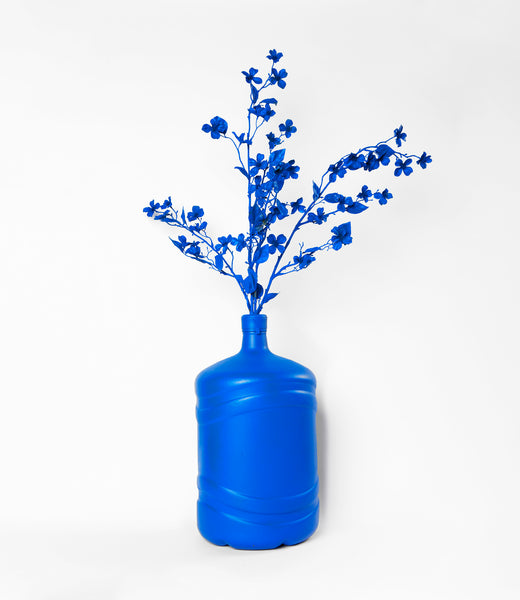 Blue Spray Painted Polar Spring Bottle Vase