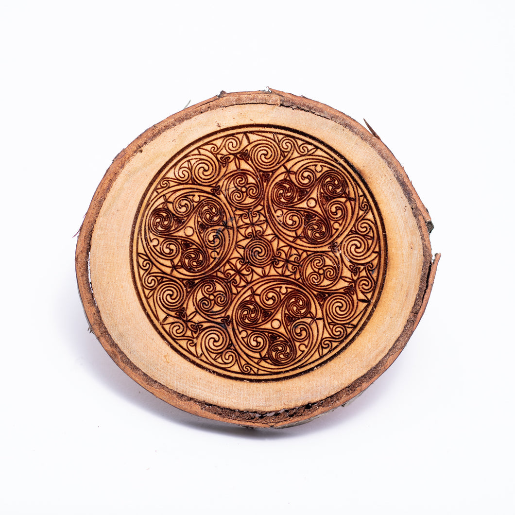 Live Edge Round Celtic Coasters - The Mitten Roots
