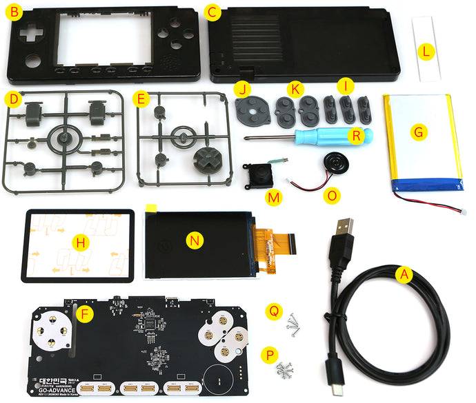 Aura Black Case and buttons kit for ODROID-GO ADVANCE V 2.0   Rev 1.1