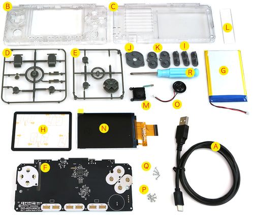 Clear White Case and buttons kit for ODROID-GO ADVANCE V 2.0   Rev 1.1