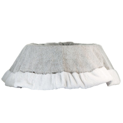 Grey Faux Fur Tree Skirt | 120cm | Christmas Tree Base Cover | Festive Winter Decoration