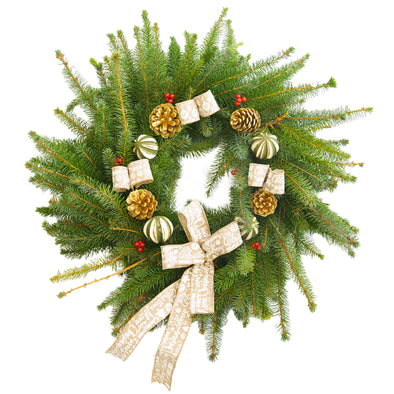"Spruce Christmas Wreath (12"", Gold)"