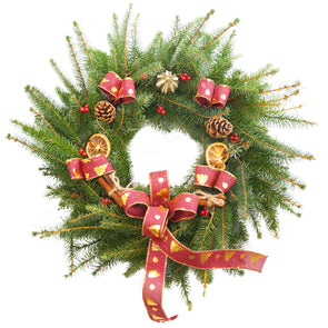 "Spruce Christmas Wreath (12"", Burgundy)"