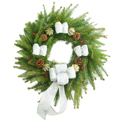 "Spruce Christmas Wreath (12"", Silver)"