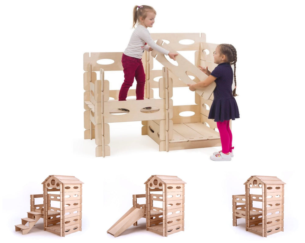 Build & Play Montessori wooden playhouse set for children