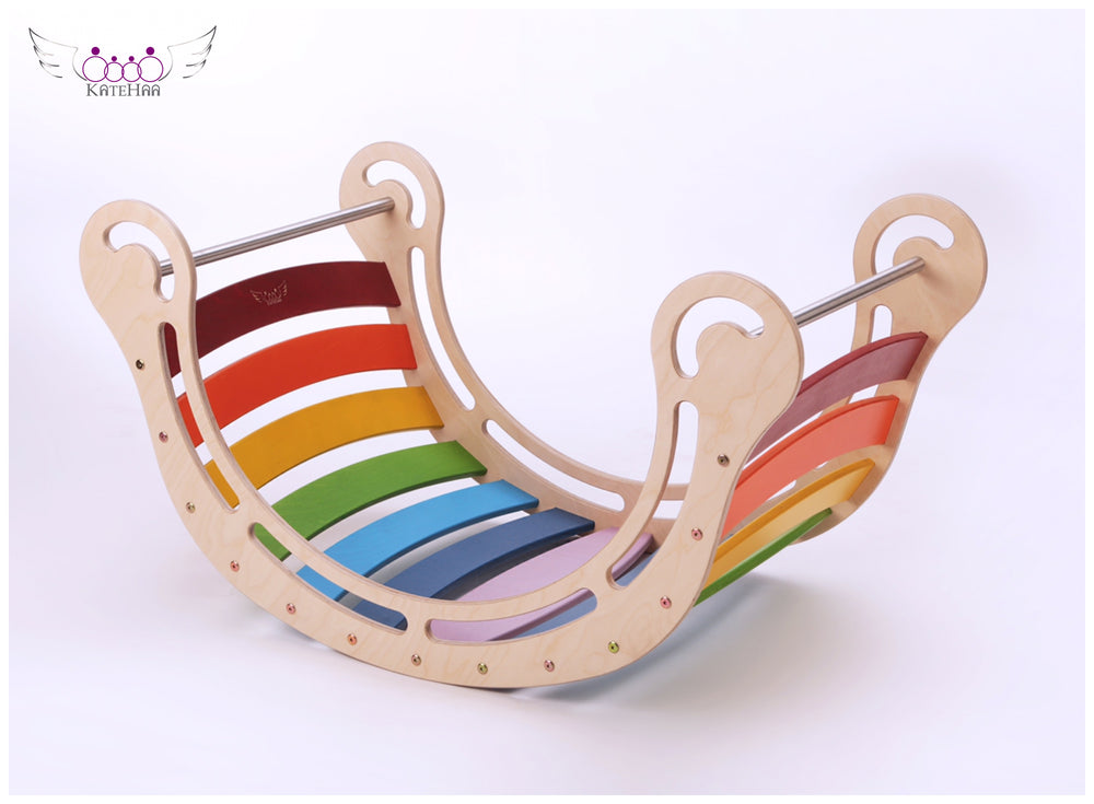 The XXL Colored Rocker + RAMP for kids in rainbow colors