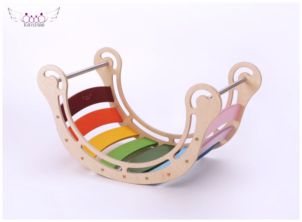 The Original Colored Rocker + RAMP for kids in rainbow colors