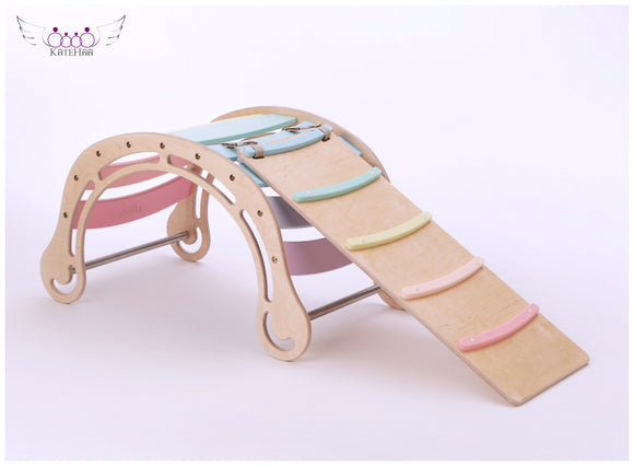 The Original Pastel Rocker + RAMP for kids in pastel rainbow colors