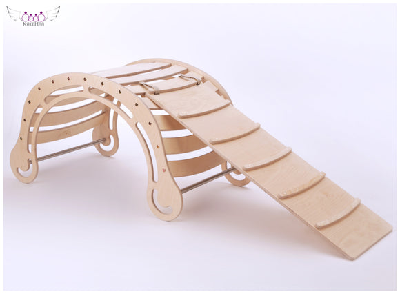 The XXL Natural Rocker + RAMP for kids natural wooden color