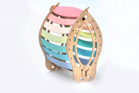 The FOLDABLE XXL Pastel Rocker + RAMP for kids in rainbow colors