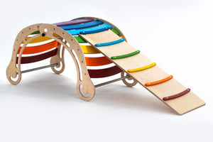 The FOLDABLE XXL Colored Rocker + RAMP for kids in rainbow colors
