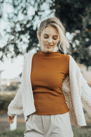 half neck rib knit tops