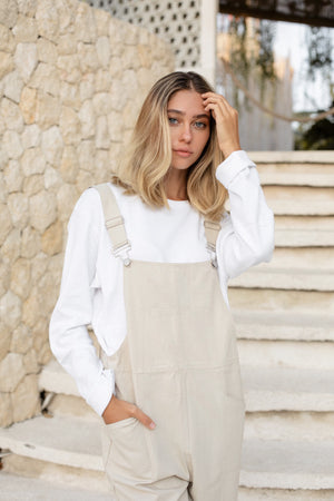 holo overalls (ivory beige)