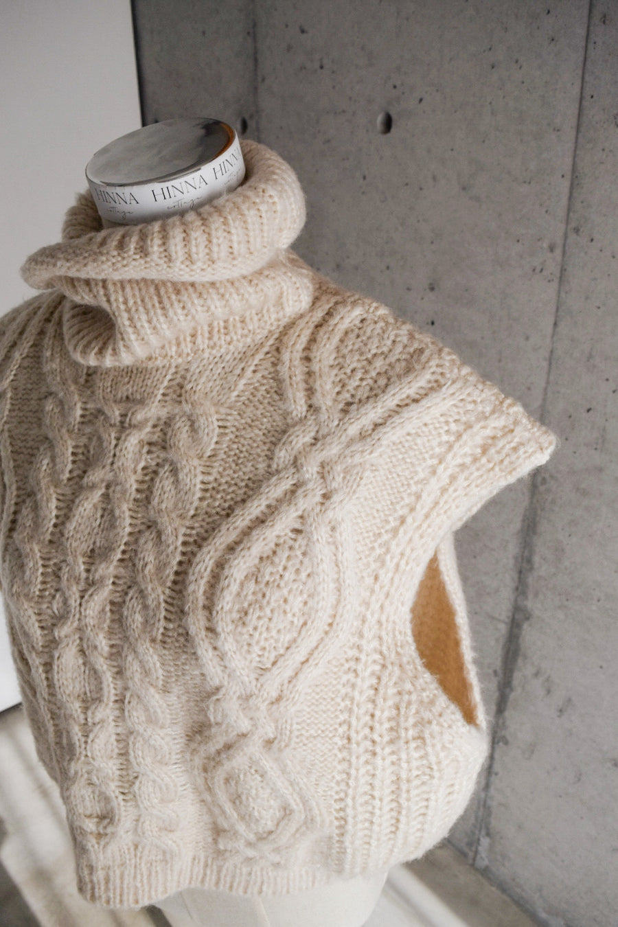 high neck knit vest