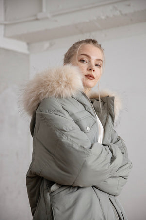 long down coat (khaki)