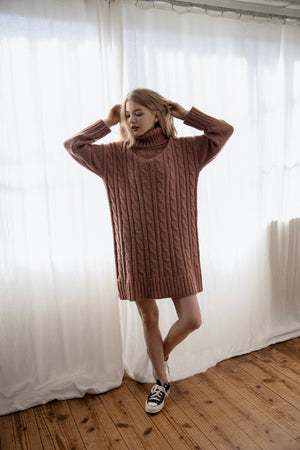 high neck long knit (pink)