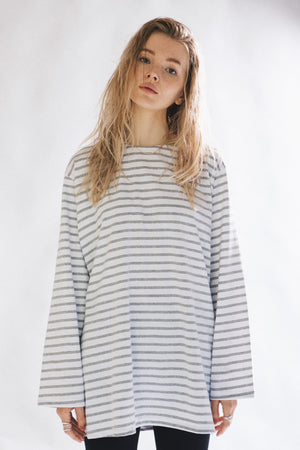 stripe tee - grey