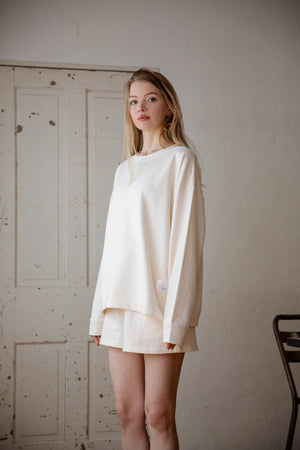 cozy sweatshirts Co-ord(CREAM)