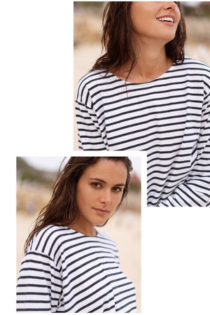 stripe tee - navy