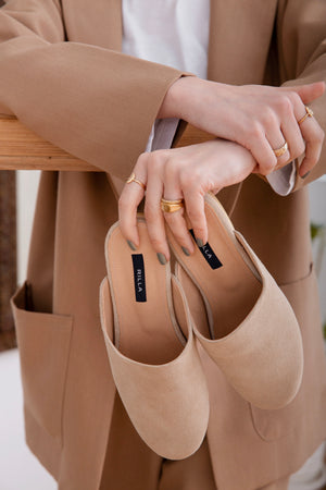 suede mule shoes